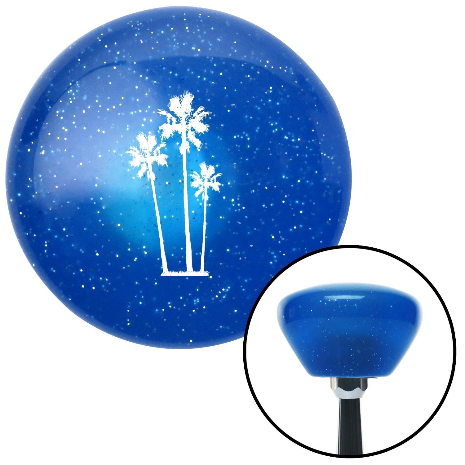 American Shifter 189809 Blue Retro Metal Flake Shift Knob with M16 x 1.5 Insert White Group of Palms
