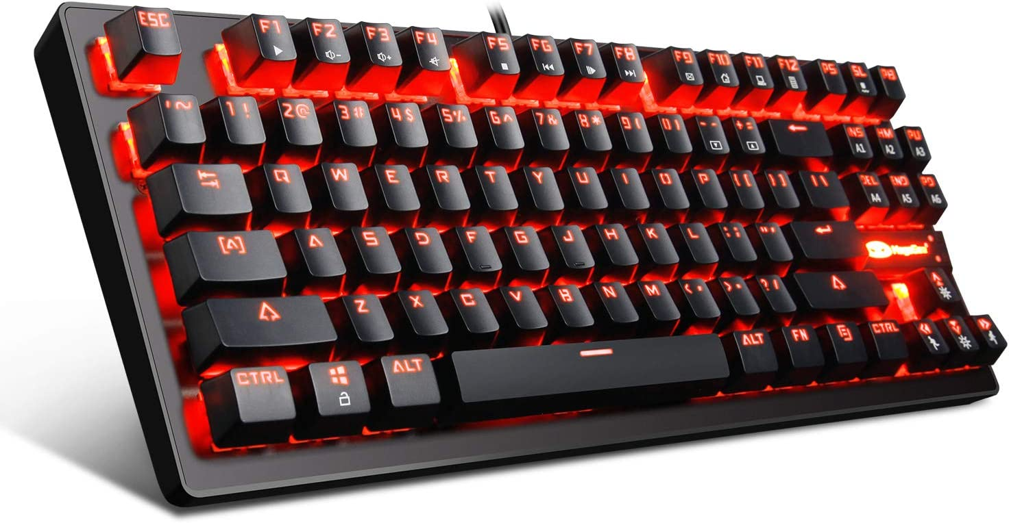 Mechanical Gaming Keyboard - MK1 RED LED Backlit Mechanical Keyboards - Small Compact 87 Key Metal Mechanical Computer Keyboard USB Wired Blue Equivalent Switches for Windows PC Gamers - Black