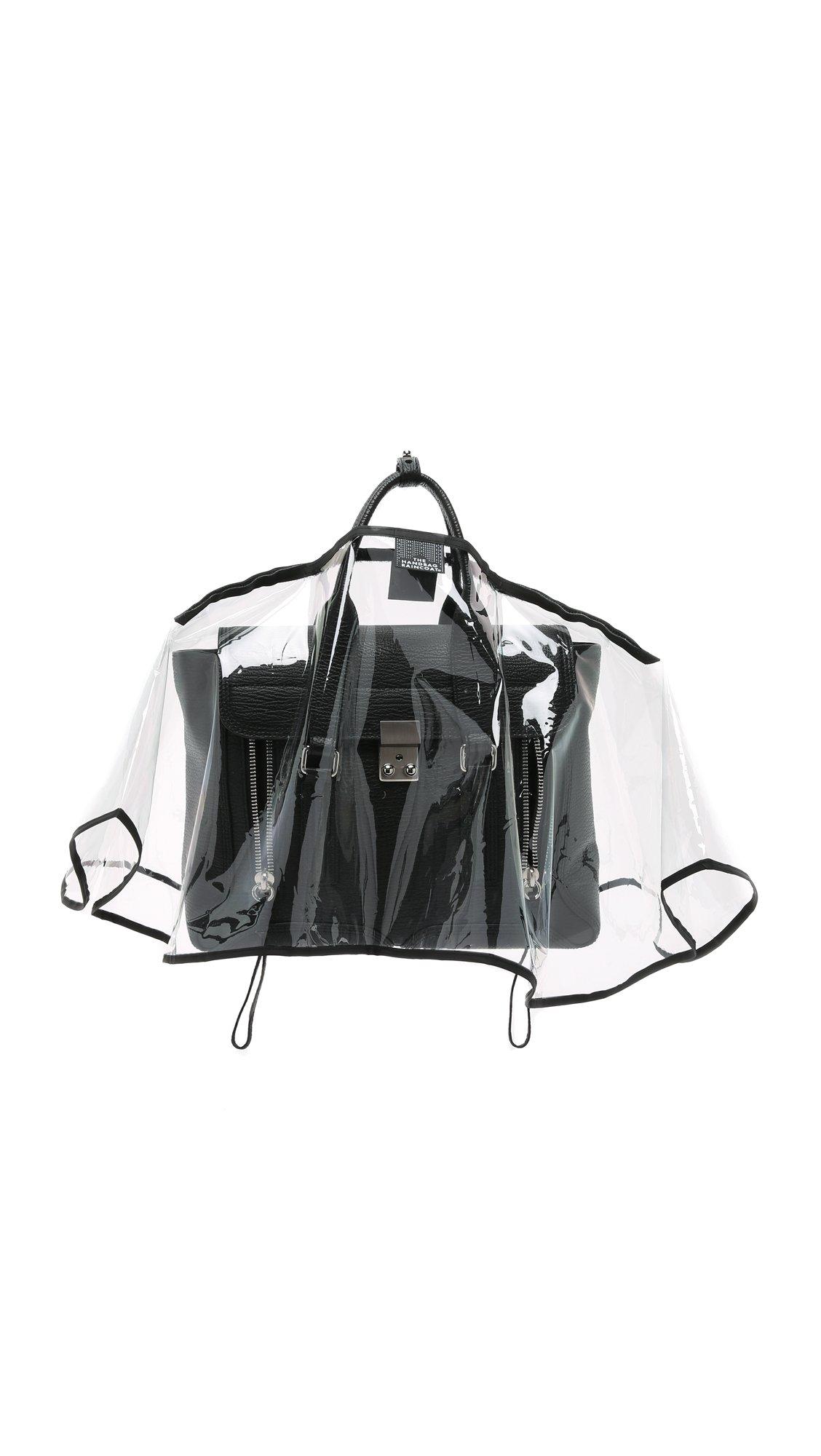 The Handbag Raincoat Women's Medium City Slicker Handbag Raincoat, Clear/Black, One Size