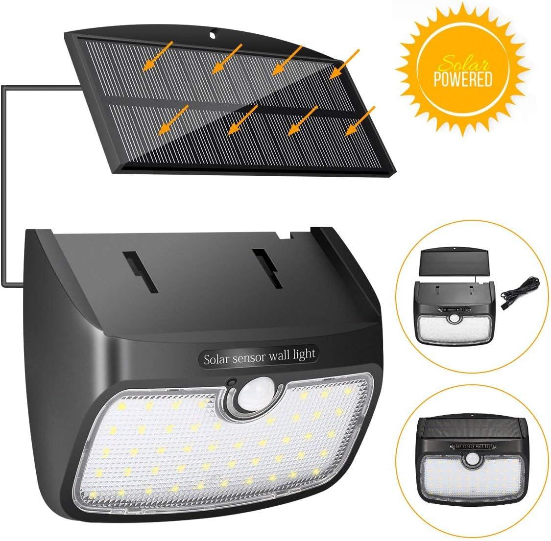 Luz Solar Lámpara Solar Separada, SGODDE Sensor de Movimiento, Lámpara de Jardín Solar 48 LED Lámpara de Pared Solar Exterior 700LM, Impermeable IP65