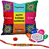 """Indigifts Bro Sis Together Forever Quote Micro Satin Cushion Cover 12""""X12"""" With Filler, Crystal Rakhi, Roli, Chawal, Greeting Card Combo (Multicolor)"""