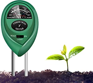 yoyomax Soil Test Kit, 3-in-1 Soil Tester pH Moisture Meter Plant Water Light Tester Testing Kits for Garden Plants