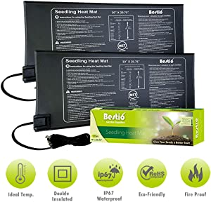 Bestio MET Safety Certified Seedling Starter Heat Mat Plant Heating Pad 10X20.75 inches Optimal Even Constant Temperature Heavy Duty IP67 Waterproof Ideal for Hydroponic Seed Germination Propagation