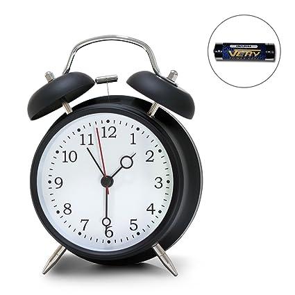 Despertador de campanilla, diseño retro (funciona con pilas, con brillo en la oscuridad, sonido muy alto)
