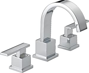 Delta Faucet Vero Widespread Bathroom Faucet Chrome, Bathroom Faucet 3 Hole, Bathroom Sink Faucet, Metal Drain Assembly, Chrome 3553LF