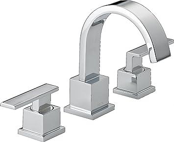 Delta Faucet Vero Widespread Bathroom Faucet Chrome Bathroom Faucet 3 Hole Bathroom Sink Faucet Metal Drain Assembly Chrome 3553lf Touch On Bathroom Sink Faucets Amazon Com