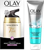 Olay Total Effects 7 In One Anti-Aging Night Firming Treatment, 50g & White Radiance Advanced Whitening Fairness Foaming Face Wash Cleanser, 100g Combo