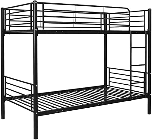 Black Metal Twin Over Twin Bunk Beds Ladder Kids Teens Dorm Bedroom Furniture Allblessing