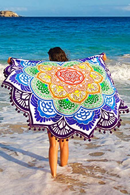 Magic Mandala toalla de playa de flores de colores Mandala luz peso tapiz indio decoración de