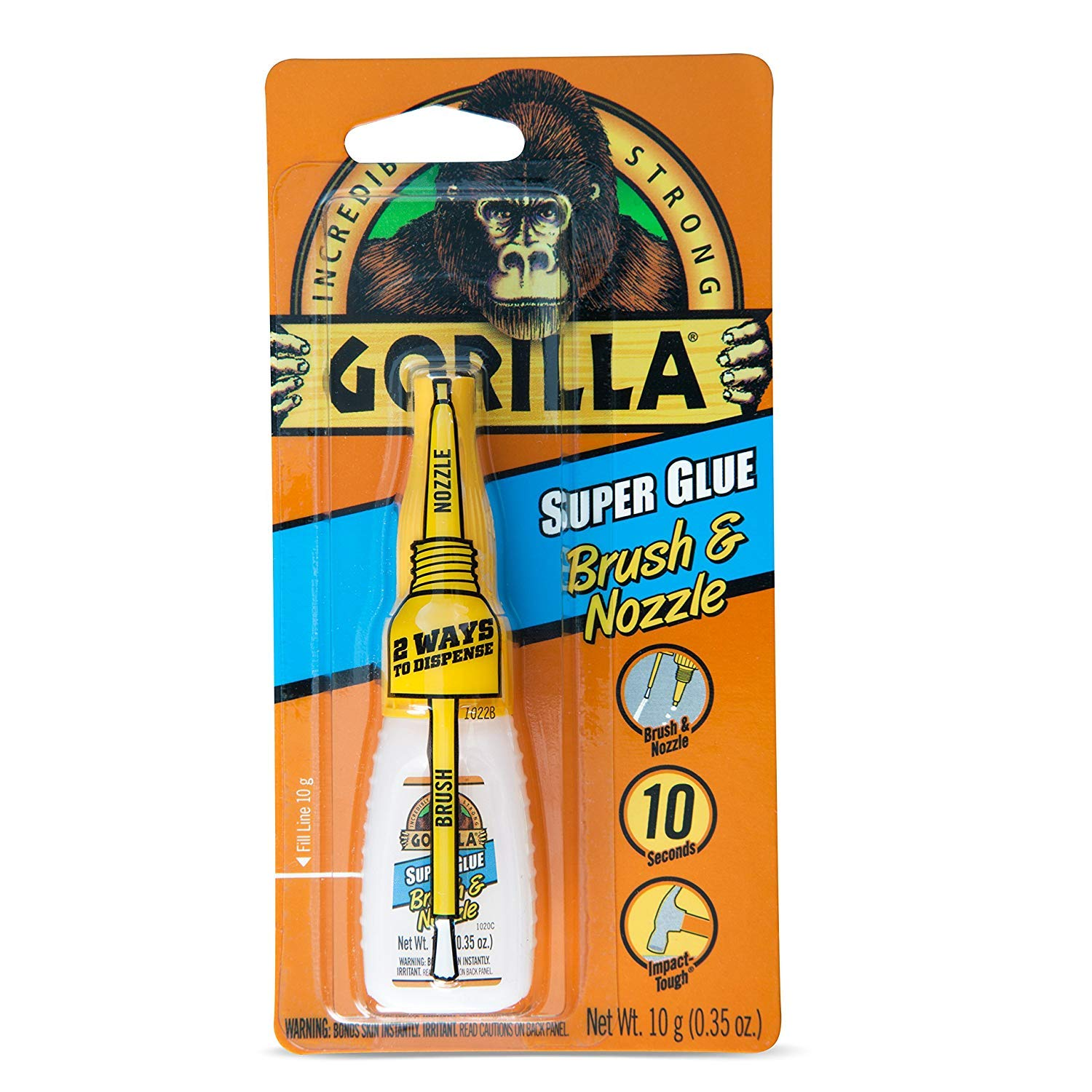 Gorilla Super Glue with Brush & Nozzle Applicator, 10 Gram, Clear, (24 Pack)