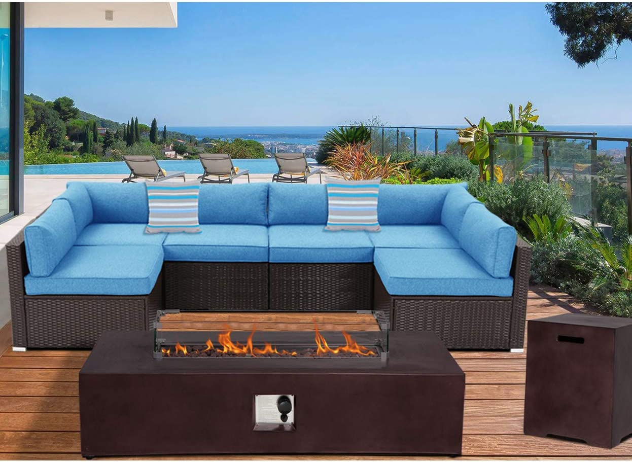 Sunbury Outdoor Sectional 8 Piece Dark Brown Wicker Sofa Patio Furniture Set W 50 000 Btu Rectangle Fire Pit Table Wind Guard 2 Stripe Pillows Denim Blue Cushions Weatherproof Cover For Backyard Garden Outdoor