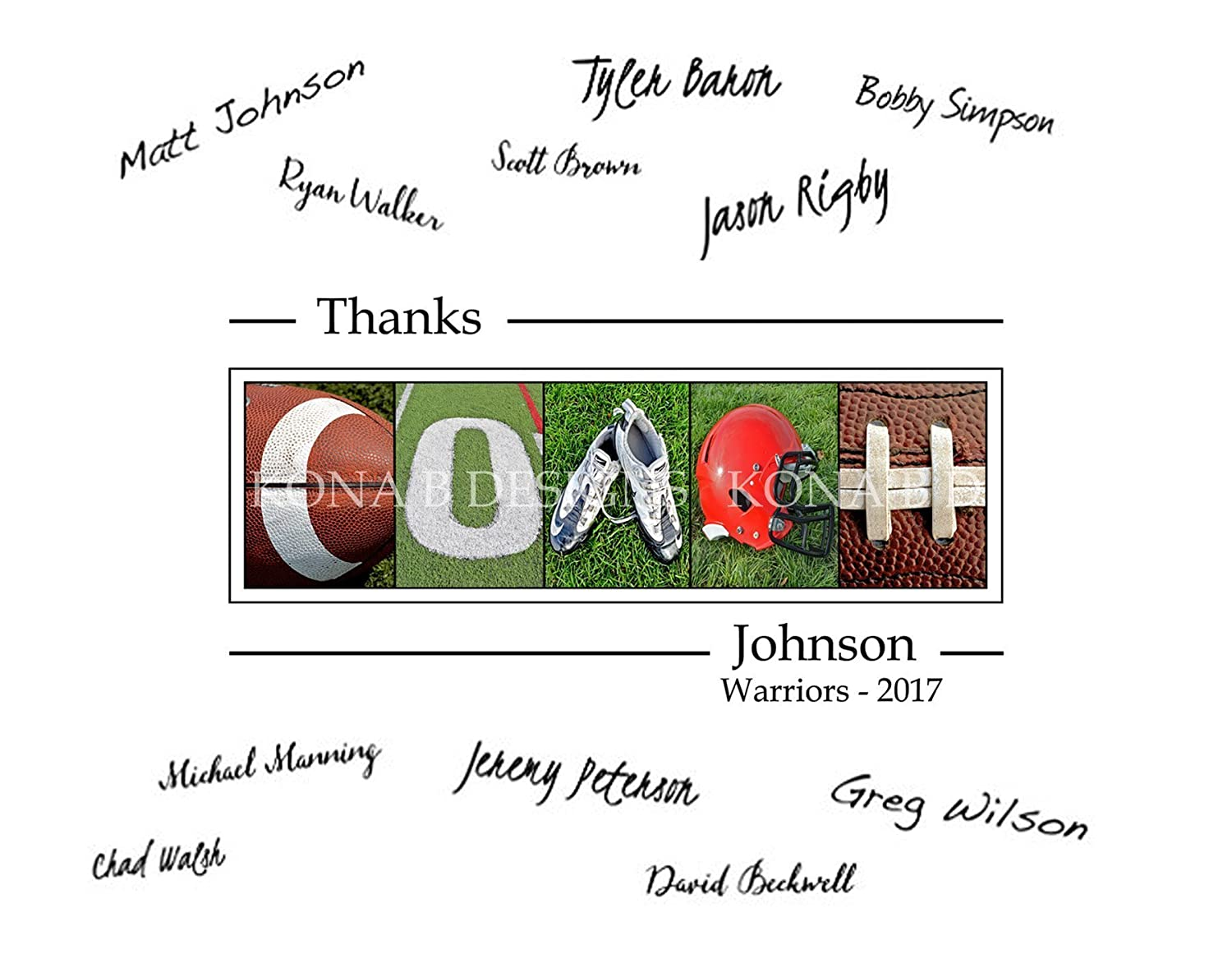 Football Coach's Gift with player's signatures - Gift for Football Coach - 11x14 with border for signatures