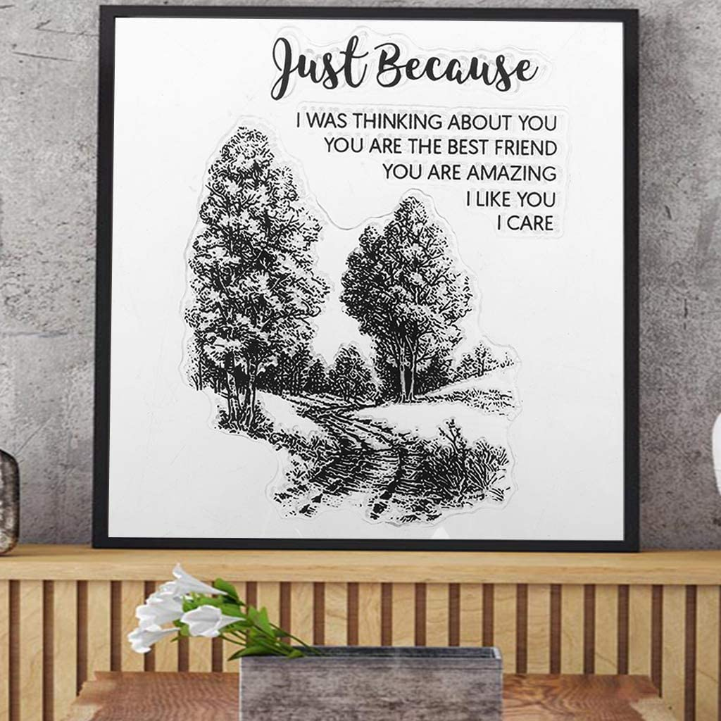KUKALE Trees Pretty Patterns Silicone Clear Stamps for Card Making Decoration and Scrapbooking