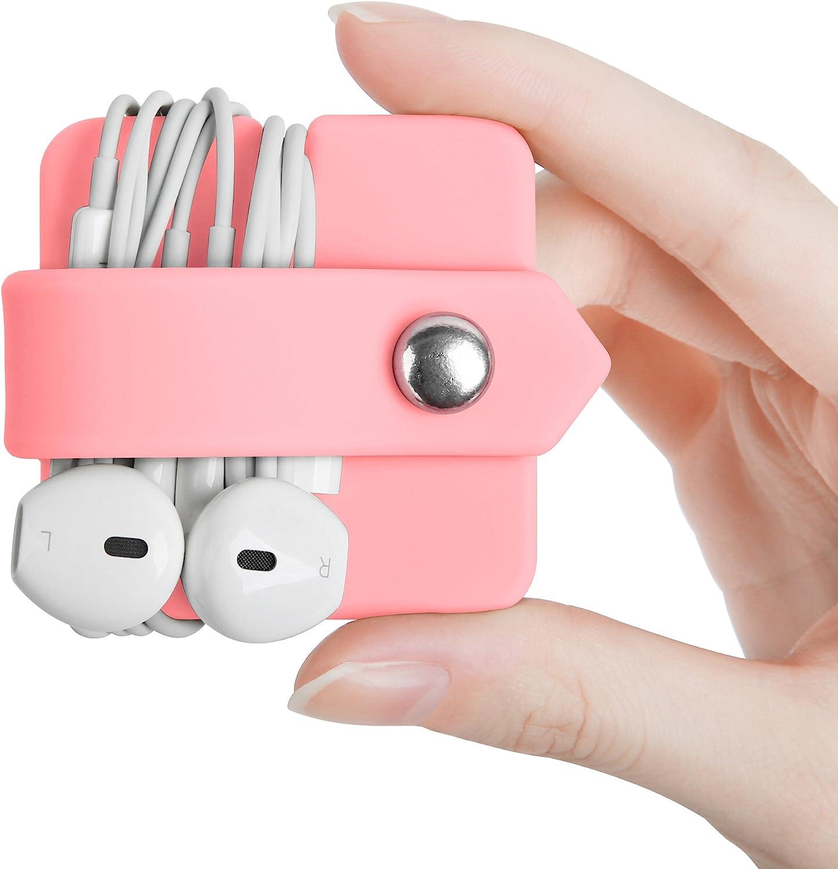 ELFRhino Cord Organizer Earbuds Holder Earphone Wrap Earphones Organizer Headset Headphone Earphone Wrap Winder Cord Manager Cable Winder(Pink, 1 Piece)