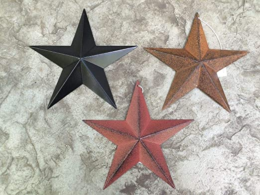 "Set of 4 ~ 8/"" BURGUNDY RUSTY BLACK AMERICAN Flag BARN STAR Primitive Country"