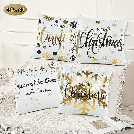 SPECOOL 4 Piezas Funda de cojín de Navidad 45x45cm Fundas de Almohada Decoración con Cremallera Invisible para Sala de Estar, sofá, Dormitorio o Coche ...