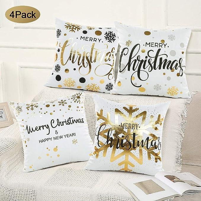 SPECOOL 4 Piezas Funda de cojín de Navidad 45x45cm Fundas de Almohada Decoración con Cremallera Invisible para Sala de Estar, sofá, Dormitorio o Coche (Set 1)