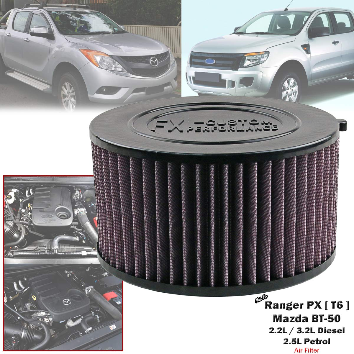 Amazon com: High Flow Air Filter For Ford Ranger T6 PX Mazda