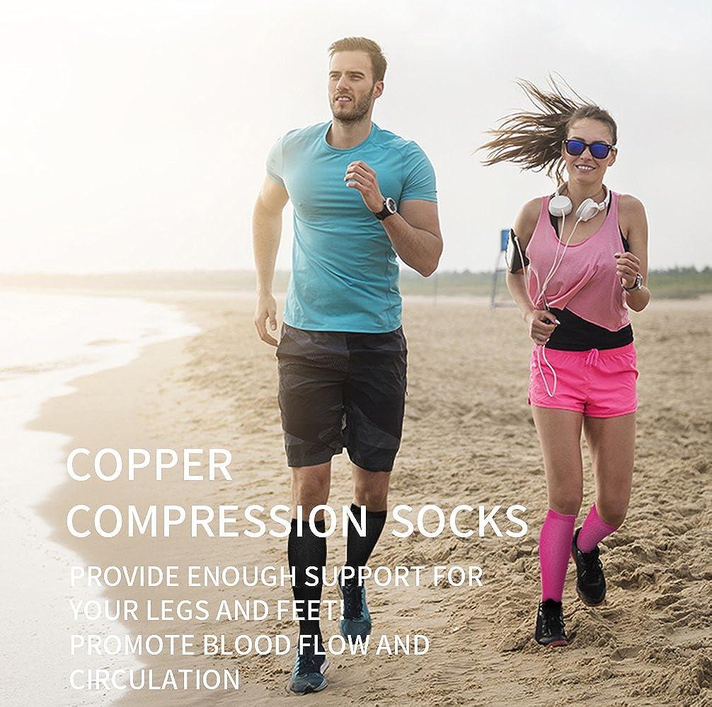 Best for Running 15-20mmHg Copper Compression Socks for Women /& Men Pregnancy and Travel Medical Athletic