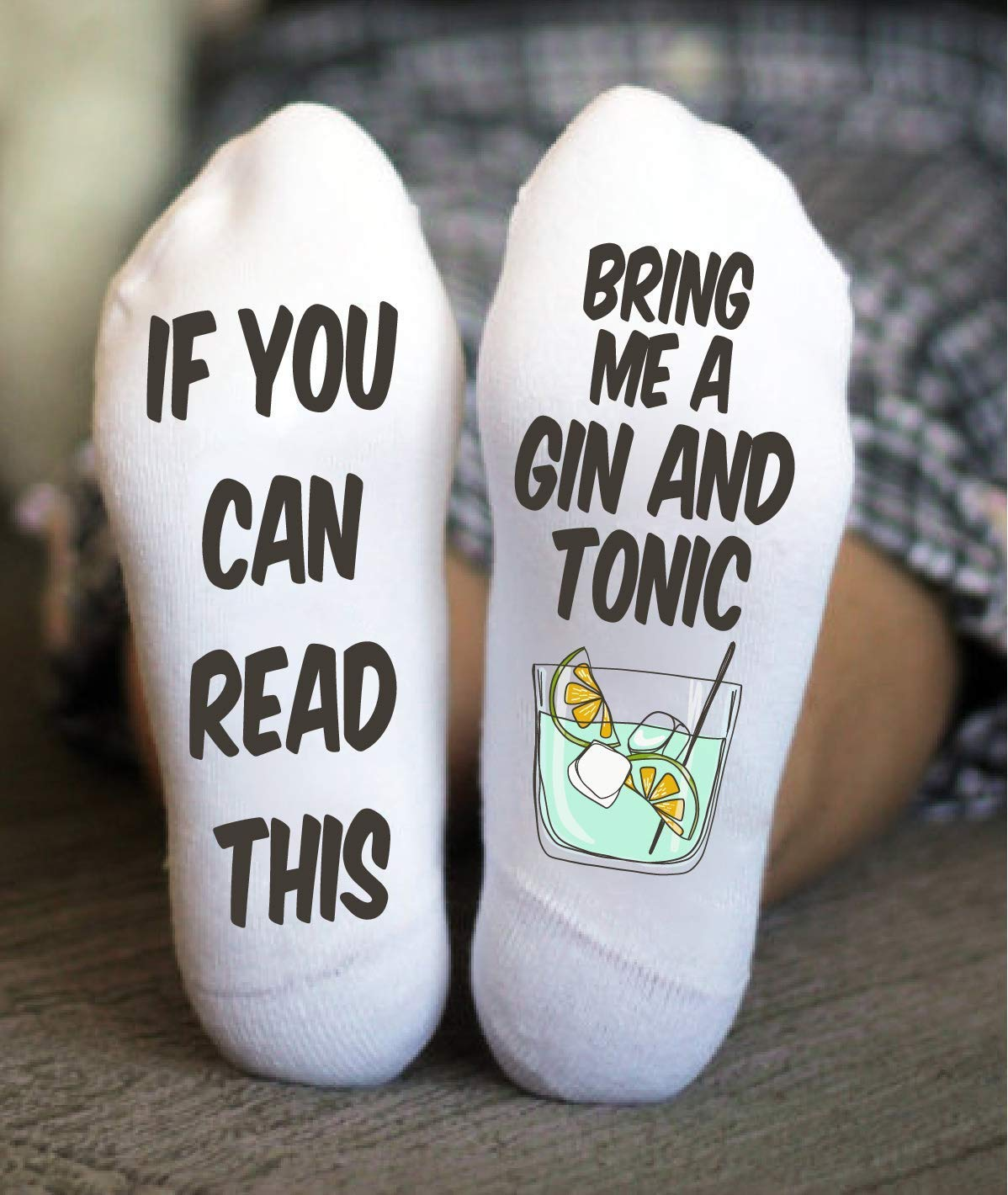Gin And Tonic Socks Birthday Funny Gift If You Can Read This