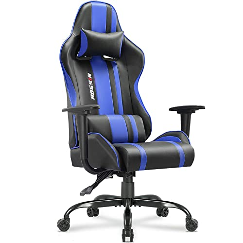 Bossin Gaming Chair Office Chair High Back Computer Chair PU Leather Desk Chair PC Racing Executive Ergonomic Adjustable Swivel Task Chair with Headrest and Lumbar Support Blue