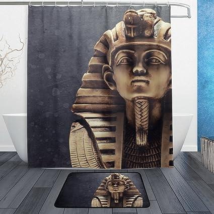 jstel piedra Faraón Tutankhamen máscara 3 piezas Set de baño, se puede lavar a máquina