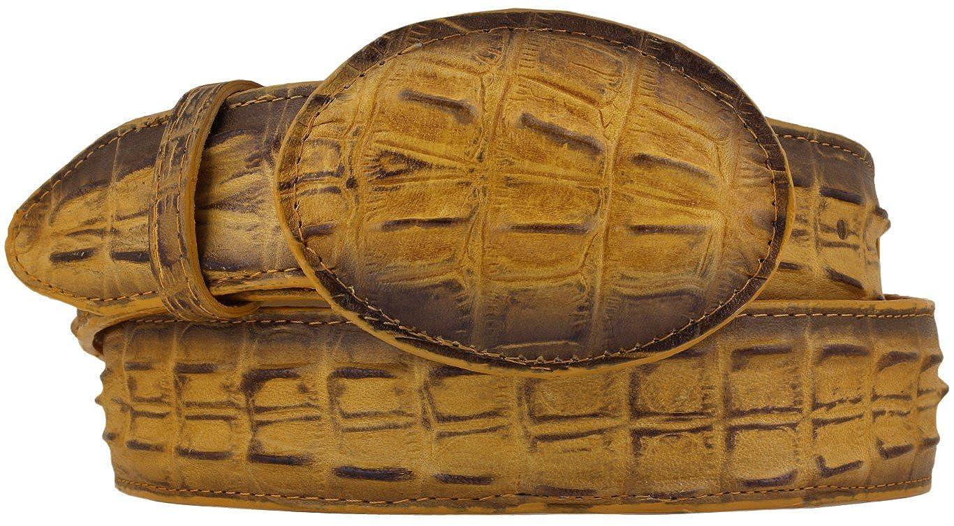 Mens Rustic Buttercup Crocodile Tail Leather Belt Round Buckle Cinto 46 El Presidente