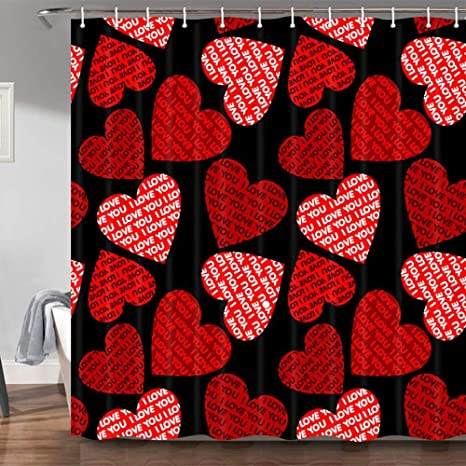 Jawo Romantic Valentine S Day Shower Curtain For Lover Pink Red Hearts With Quote Text I Love You On Black Fabric Shower Curtains Bathroom Decorations 69x70 Inches Hooks Included Home Kitchen