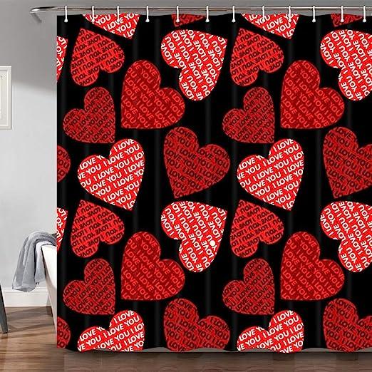 Wood Texture Red Heart Love Valentine Fabric Shower Curtain Liner Bathroom Set