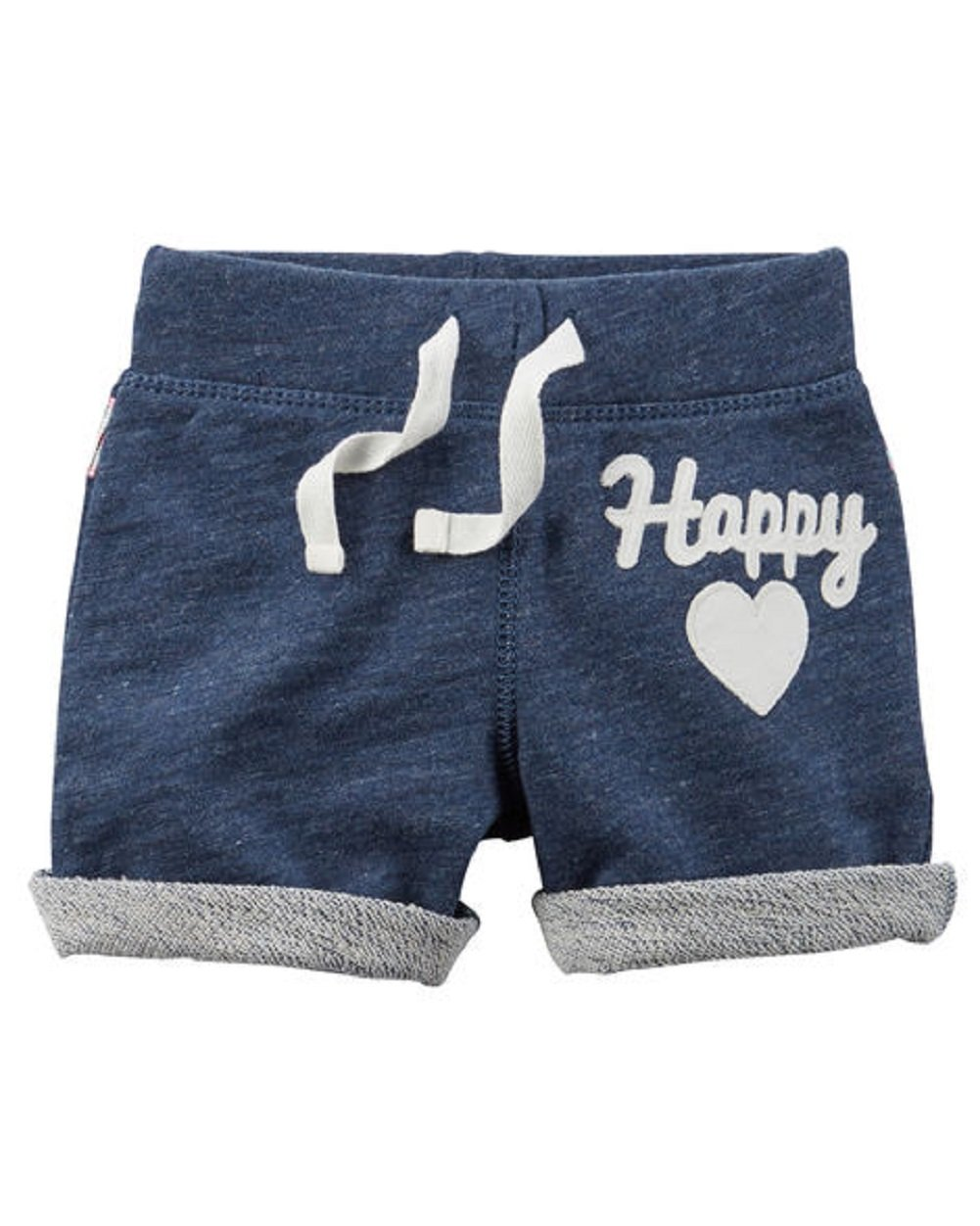 Carter's Little Girls' French Terry ''Happy'' or ''Love'' French Terry Shorts (5T, blue)