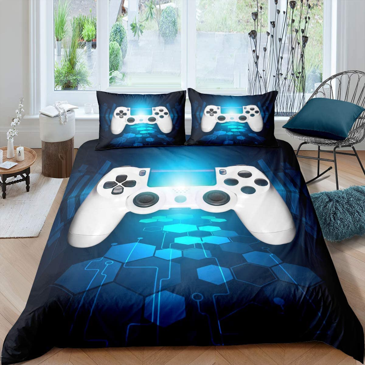 Gamer Bedding Set for Boys Youth Teens King Size Modern Gaming Comforter Cover,Video Games Duvet Cover Kids Girls, Novelty Geometric Cube Action Buttons Game Gamepad Room Decor Printed Bedspread Cover