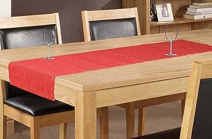 Elan Cotton Marigold Theme Table Runner - 33 X 180 CM (Red)