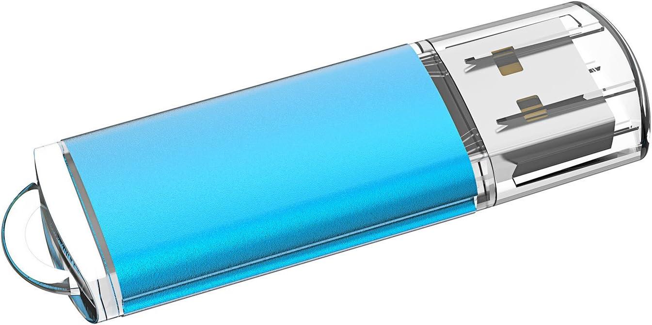 Sanfeya Flash Drive 3X64GB USB 2.0 USB Flash Drive with Keychain Hole 3-Pack Mixed Colors Blue Red Orange