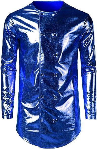 Hombres Camisa de Manga Larga Camiseta Brillante de Cuero Charol Latex para Hombre Blusa con botón Sexy Camisa Invierno Otoño Hip Hop Slim-fit Traje de Club Danza Gusspower: Amazon.es: Ropa y accesorios