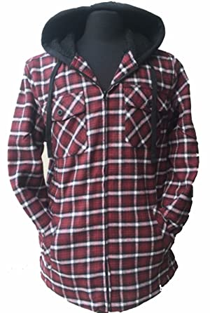 Golden Tree Winter Flannel Jacket with hoodie Big & Tall Sherpa Lining (L)