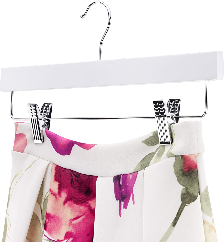 Hangerworld 50 Perchas 36cm Madera Recta Lacado Blanco con Pinzas de Metal para Faldas y Pantalones