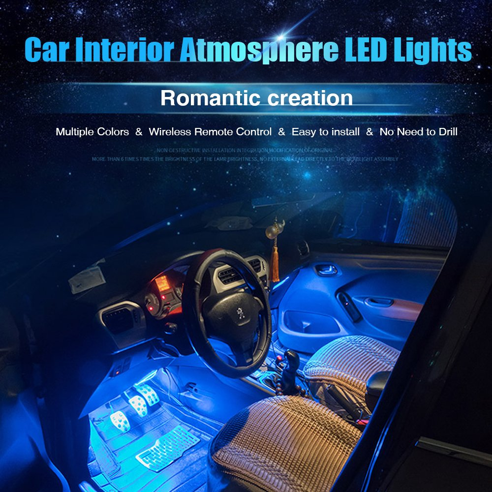 AMBOTHER 4X 12-Color 36-LED Car LED Interior Atmosphere Decorative Strip Lights with IR Wireless Remote Control /& Car Charger DC 12V Glow Neon Floor Decoration Underdash Lighting Lamp Kits