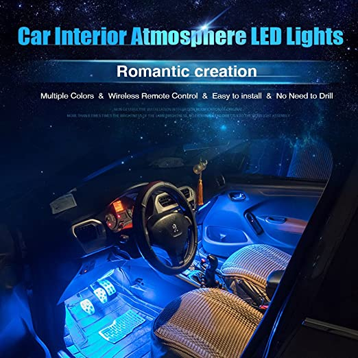 Car LED Strip Lights, AMBOTHER 4X12 LED 8 Colors USB Car Interior Light  Footwell Decorative Lightning Kit Wireless Remote Control Sound Activated  For Car ...
