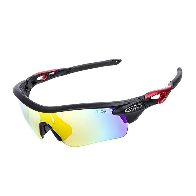 Occhiali da sole sportivi O-LET per Uomini Donne, Ciclismo Baseball in esecuzione Pesca Golf e prescrizione / lettori Frame (nero opaco, multicolore)
