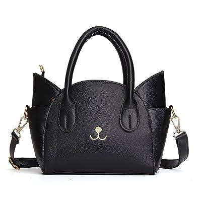 36c28df5b OURBAG Women's Fashion Top Handle Cute Cat Cross Body Shoulder Bag Black  Medium