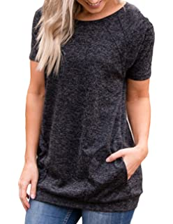 19c53eb8b9a Miskely Womens Round Neck Short Sleeve Blouse with Pocket Casual Loose Fit  Quick Dry T Shirt