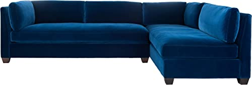 Safavieh Couture Home Bianchi Navy Velvet and Espresso Sectional Sofa Review