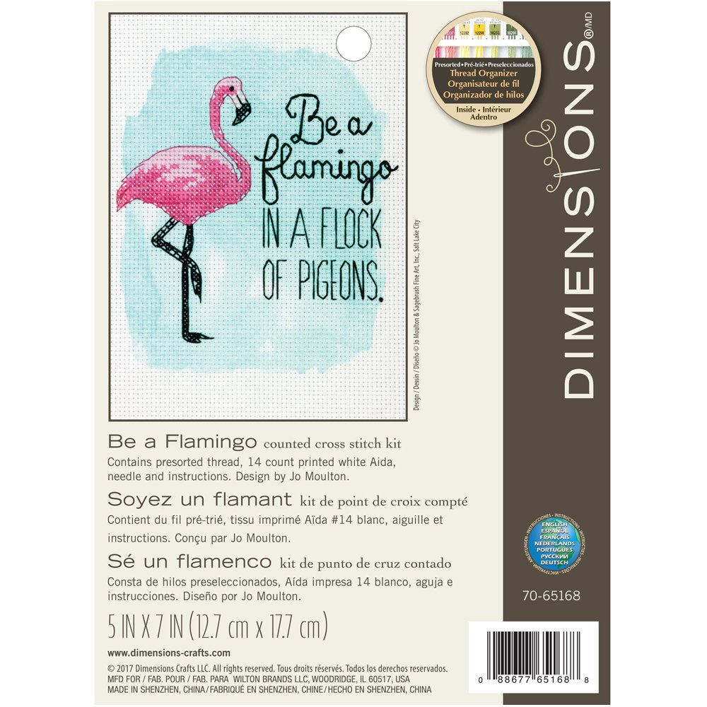Dimensions 70-65168 Be A Flamingo Counted Cross Stitch Kit 5 x 7