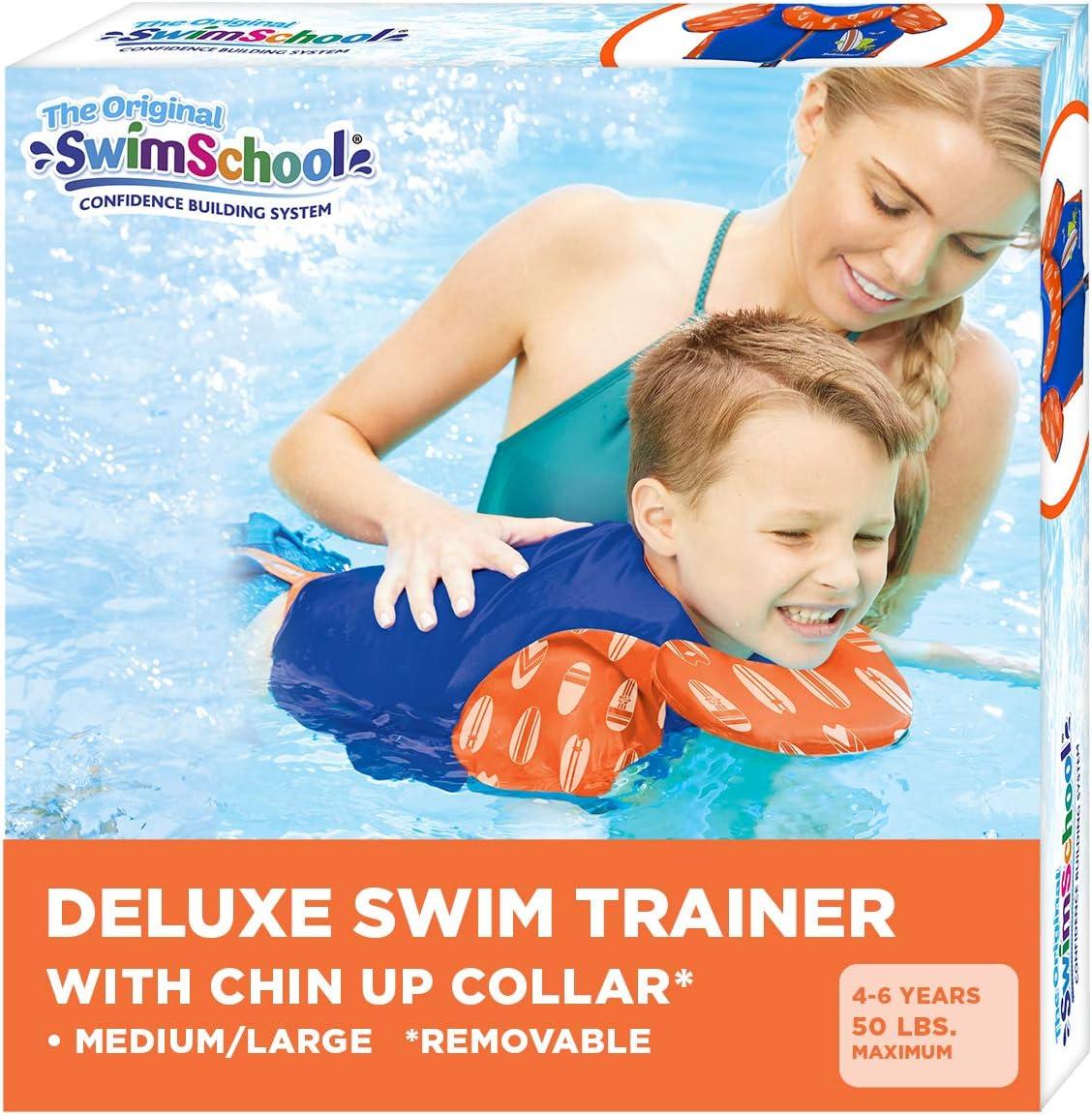 Swim Trainer Vest with UPF50 Shoulder Sleeves, Stretchable Fabric, Flex-Form Design, Adjustable Safety Strap, Medium/Large, Up to 50 Lbs., Blue/Orange