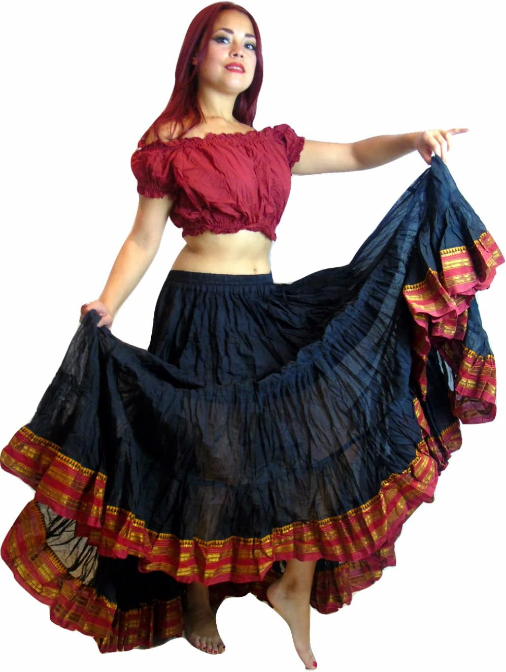 Falda de danza del vientre, tribal, Black Maroon: Amazon.es ...