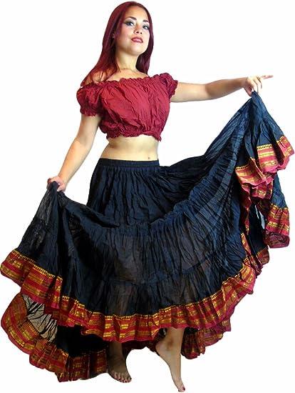 Falda de danza del vientre, tribal, Black Maroon: Amazon.es ...