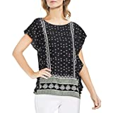 Vince Camuto Womens Printed Ruffle Sleeve Pullover Top Black XS