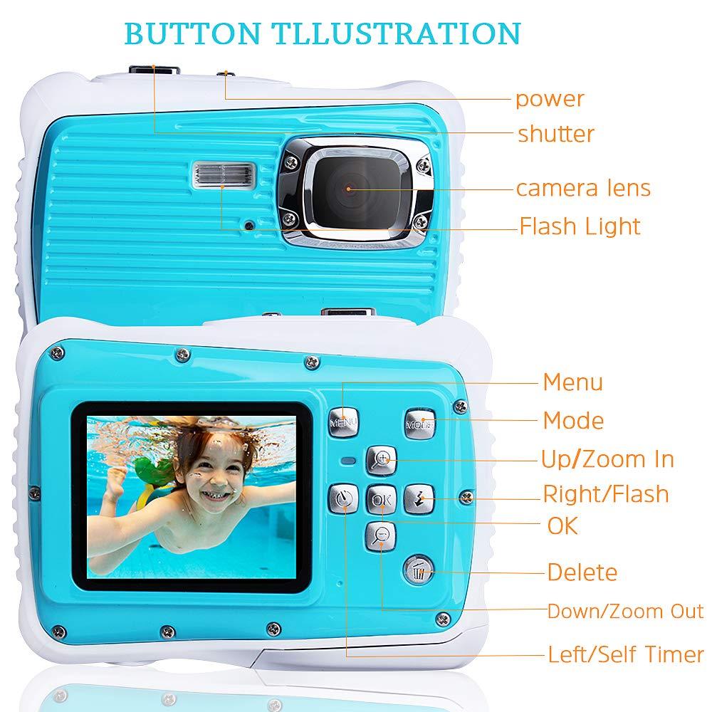 Waterproof Digital Camera Kids 8X Digital Zoom, Kids Digital Camera 21MP HD Underwater Action Camera Camcorder 2.0 inch LCD Screen, Free 16GB Memory Card by Adoreco (Image #3)
