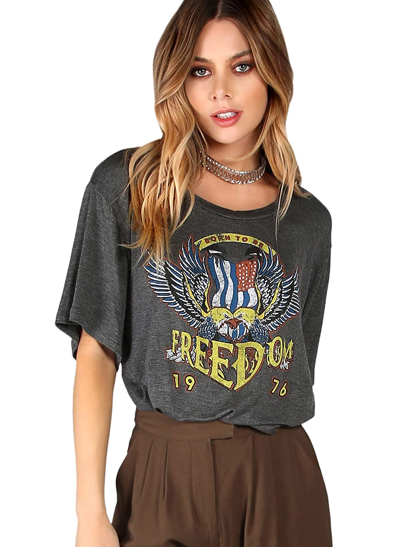 755d1ccfa0 SheIn Women's Cute Graphic Letter Print Crop Tops Summer Short Sleeve Tee T- Shirt at Amazon Women's Clothing store: