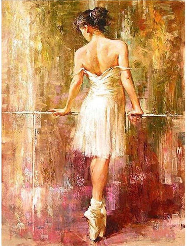 Pintar por Numeros Adultos Niños Bailarina de fondo Pintura al óleo DIY Lienzo Pintura por Números Kits Decoración de Pared Regalos 40X50cm Sin Marco